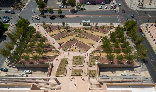Image credit: Pete V. Domenici U.S. Courthouse Sustainable Landscape Renovation. Image by Robert Reck.