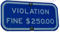 Sign about fines